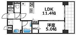 グランパシフィック花園Luxe 8階1LDKの間取り