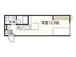 モーリスII 2階ワンルームの間取り