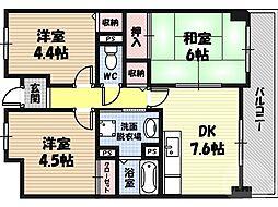 ラ・ピエール城東 6階3DKの間取り