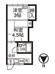 石川県金沢市久安1丁目の賃貸アパートの間取り