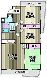 大阪府堺市北区東三国ヶ丘町1丁の賃貸マンションの間取り