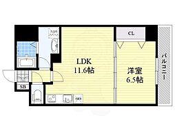 (仮称)リバレイン江坂 5階1LDKの間取り