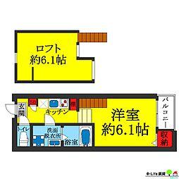 大阪府大阪市住吉区長居西2丁目の賃貸アパートの間取り