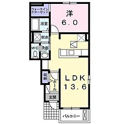 JR山陽本線 岡山駅 バス38分 下市下車 徒歩8分の賃貸アパート 1階1LDKの間取り