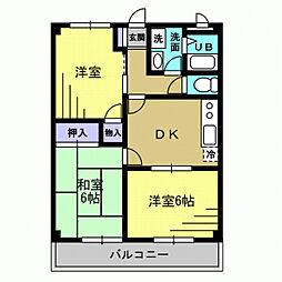 グレース赤坂 2階3DKの間取り