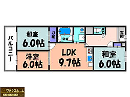 大阪府堺市北区百舌鳥赤畑町3丁の賃貸マンションの間取り