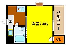サニーサイド吉田駅前[2階]の間取り