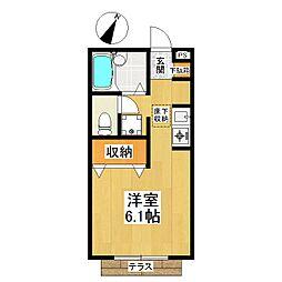 東京都世田谷区成城3丁目の賃貸アパートの間取り