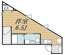 JR内房線 本千葉駅 徒歩9分の賃貸アパート 3階ワンルームの間取り