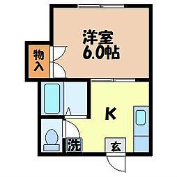 ハイネス福田 A[102号室]の間取り