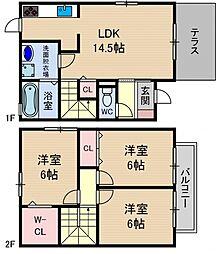 [テラスハウス] 大阪府茨木市安威1丁目 の賃貸【大阪府 / 茨木市】の間取り