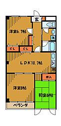 東京都小平市天神町1丁目の賃貸マンションの間取り