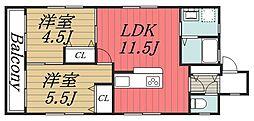 千葉県千葉市中央区新田町の賃貸マンションの間取り