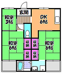 ビレッジハウス加賀田 1号棟[4階]の間取り