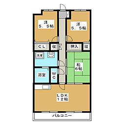 ルネスシャルマン[2階]の間取り