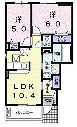 大阪府八尾市西山本町3丁目の賃貸アパートの間取り