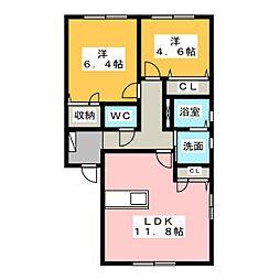 エーデルハイム A・B[1階]の間取り