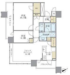 JR山手線 目黒駅 徒歩2分の賃貸マンション 19階2LDKの間取り