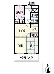 ファミール西浜田南館[2階]の間取り