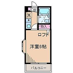 神奈川県横浜市港北区樽町4の賃貸アパートの間取り