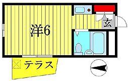 ユニパレスA棟[105号室]の間取り