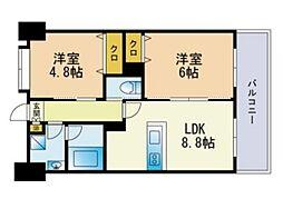 LUCIS高宮 13階2LDKの間取り