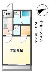 愛知県みよし市黒笹いずみ1丁目の賃貸アパートの間取り