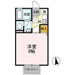 セジュール・ユタカB棟 1階1Kの間取り