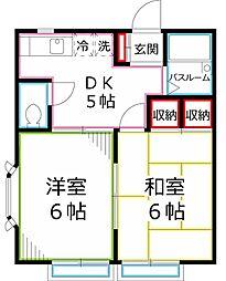 東京都国立市東3丁目の賃貸アパートの間取り