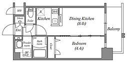 エスリード中之島クロスゲート 6階1DKの間取り
