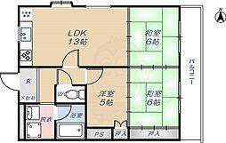 近鉄奈良線 河内花園駅 徒歩10分の賃貸マンション 3階3LDKの間取り