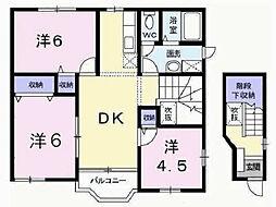 シャルマン北野B[2階]の間取り