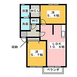 アネーロA[2階]の間取り