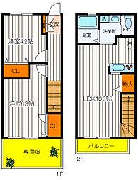 [テラスハウス] 東京都昭島市大神町2丁目 の賃貸【東京都 / 昭島市】の間取り