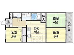 シャトー・レイクルイーズ 9階3DKの間取り