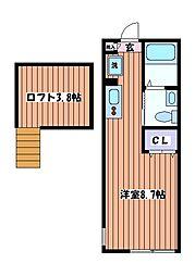 東京都立川市高松町3丁目の賃貸アパートの間取り