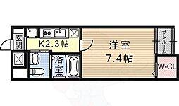 阪急京都本線 富田駅 徒歩20分の賃貸マンション 1階1Kの間取り