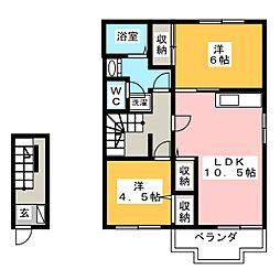 ノースタウンC[2階]の間取り