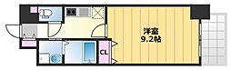TKアンバーコート津久野 9階1Kの間取り