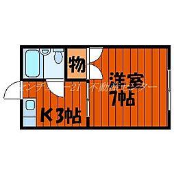 JR山陽本線 岡山駅 バス10分 岡電バス京山中学校前バス停下車 徒歩2分の賃貸アパート 2階1Kの間取り