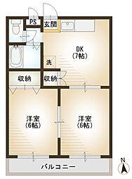 東京都東村山市富士見町4丁目の賃貸アパートの間取り