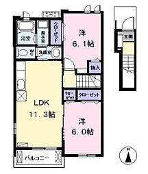 愛知県海部郡大治町大字西條字高場の賃貸アパートの間取り