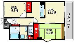 福岡県福岡市博多区吉塚2丁目の賃貸マンションの間取り