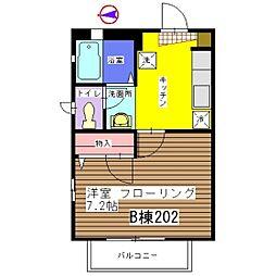 しぇ じゅじゅ[B-202号室]の間取り