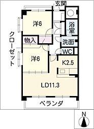 愛知県名古屋市緑区境松1丁目の賃貸マンションの間取り