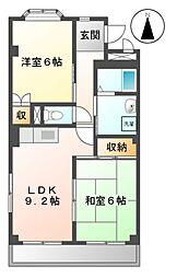 愛知県名古屋市緑区徳重4の賃貸マンションの間取り