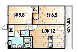 エリオスコート[11階]の間取り