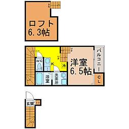 愛知県名古屋市中村区本陣通4丁目の賃貸アパートの間取り