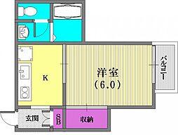 大倉山ハイツC棟[102号室]の間取り