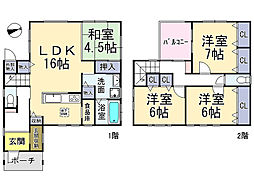 近鉄南大阪線 浮孔駅 徒歩10分 4LDKの間取り